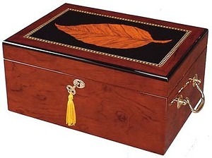 Deauville - 100 Cigar Tobacco Leaf Inlay Humidor Closed