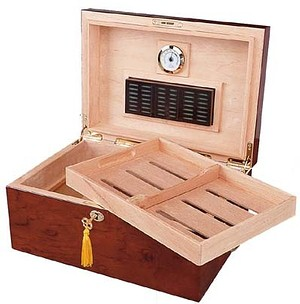 Deauville - 100 Cigar Tobacco Leaf Inlay Humidor Open